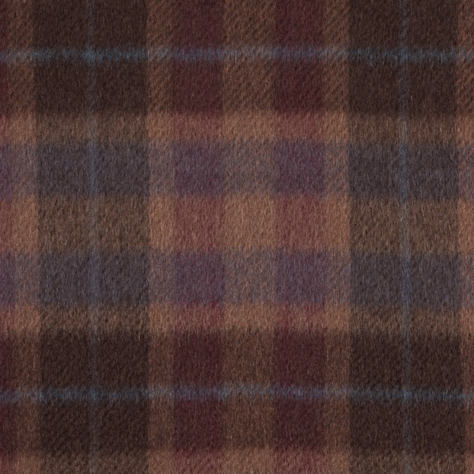 chocolate brown and almond plaid mohair twill coating 314549 11