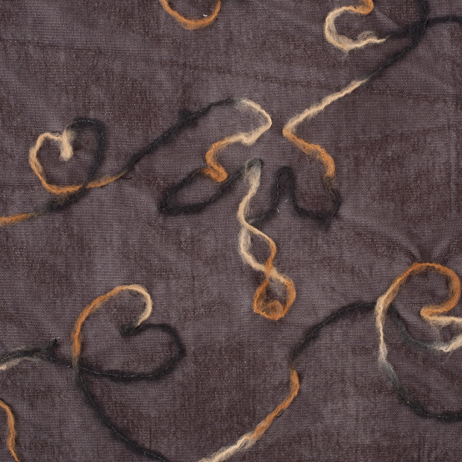 chocolate brown felted embroidered hearts on mesh 308219 11