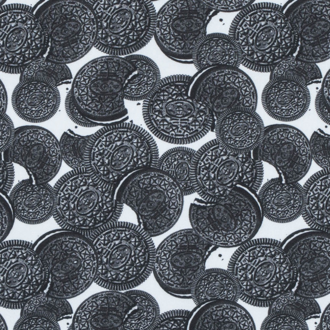 chocolate sandwich cookie digitally printed stretch neoprene scuba knit 313415 11