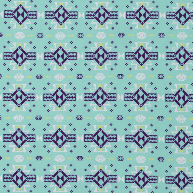 cockatoo blue tribal printed crepe de chine 312297 11