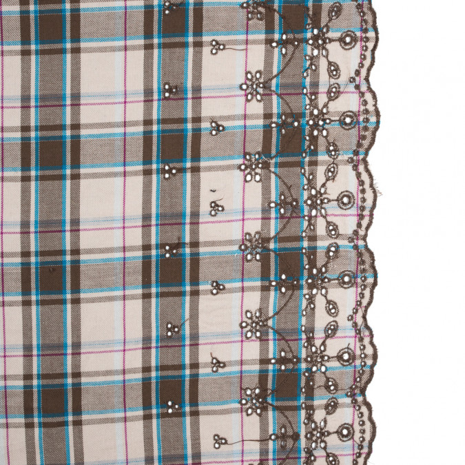 coffee brown plaid cotton twill with floral eyelet border 315128 11