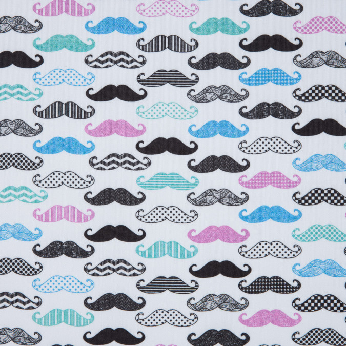 colorful mustaches digitally printed on stretch neoprene scuba knit 310342 11