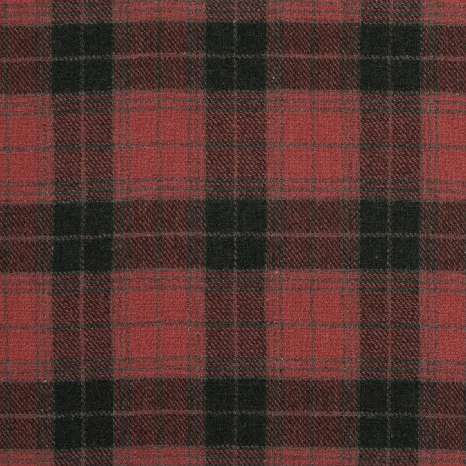 coral and green plaid brushed wool twill 317254 11