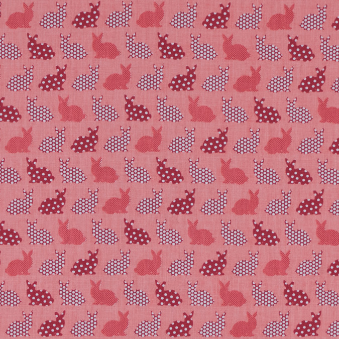 coral polka dotted bunnies printed on a cotton poplin 313990 11