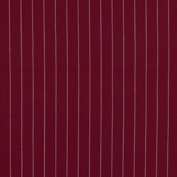 cranberry and white pencil striped linen woven 317586 11