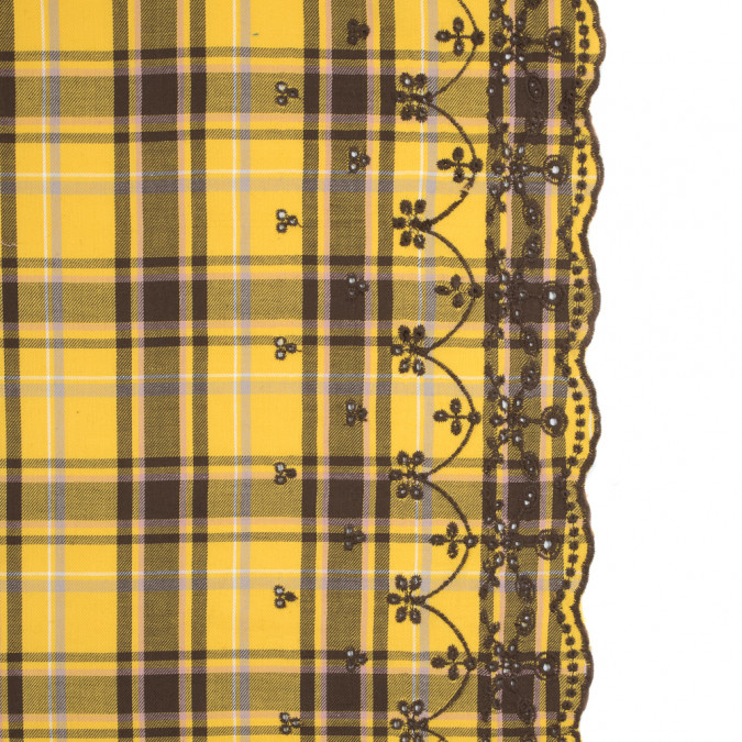 daffodil yellow plaid cotton twill with floral eyelet border 315119 11