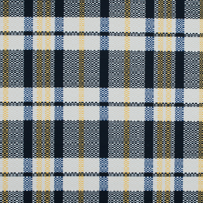 dark navy daffodil and white swan plaid stretch cotton twill 117314 11