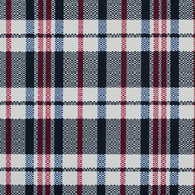 dark navy ribbon red and white swan plaid stretch cotton twill 117315 11
