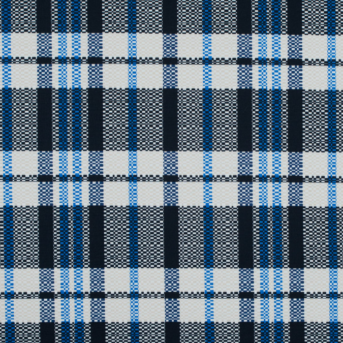 dark navy and white swan plaid stretch cotton twill 117316 11