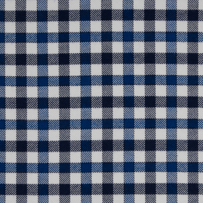 dazzling blue eclipse white gingham plaid cotton tencel double sided brushed flannel 309461 11