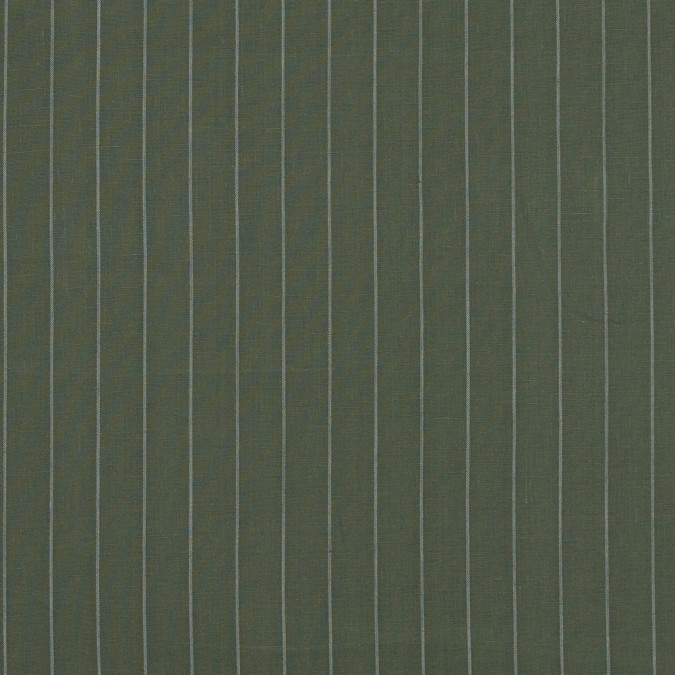 deep lichen green and white pencil striped linen woven 317580 11
