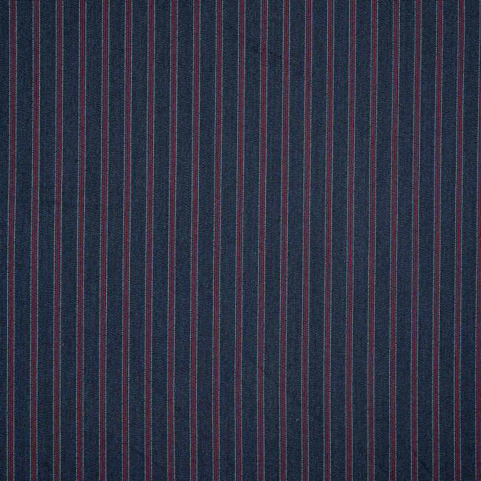 denim blue red and white striped wool twill 318930 11