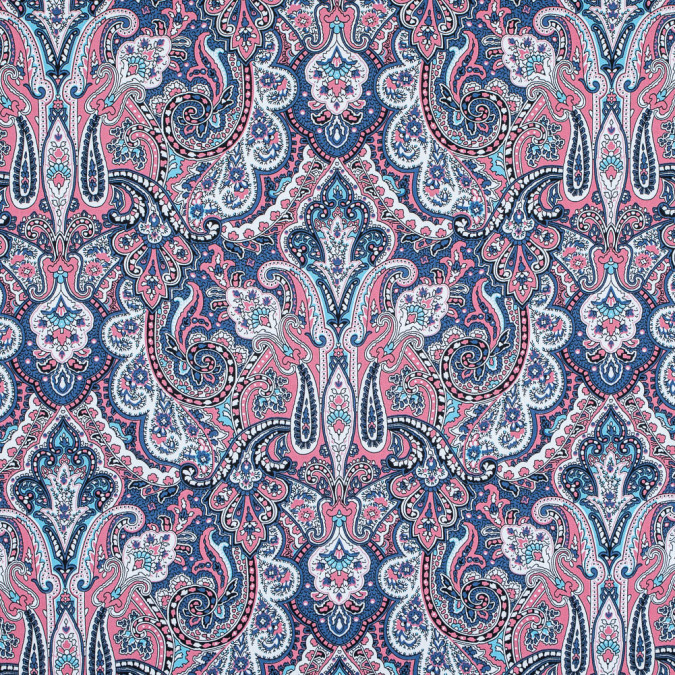 desert rose and colony blue paisley printed stretch cotton sateen 117313 11