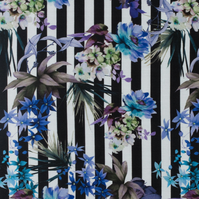 digitally printed flowers and stripes on a premium mikado twill 115269 11