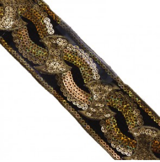 embroidery sequin trim black gold 310148