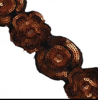 embroidery sequin trim black orange 310150