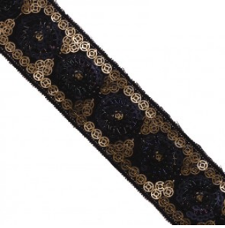 embroidery sequin trim black rose gold 310147