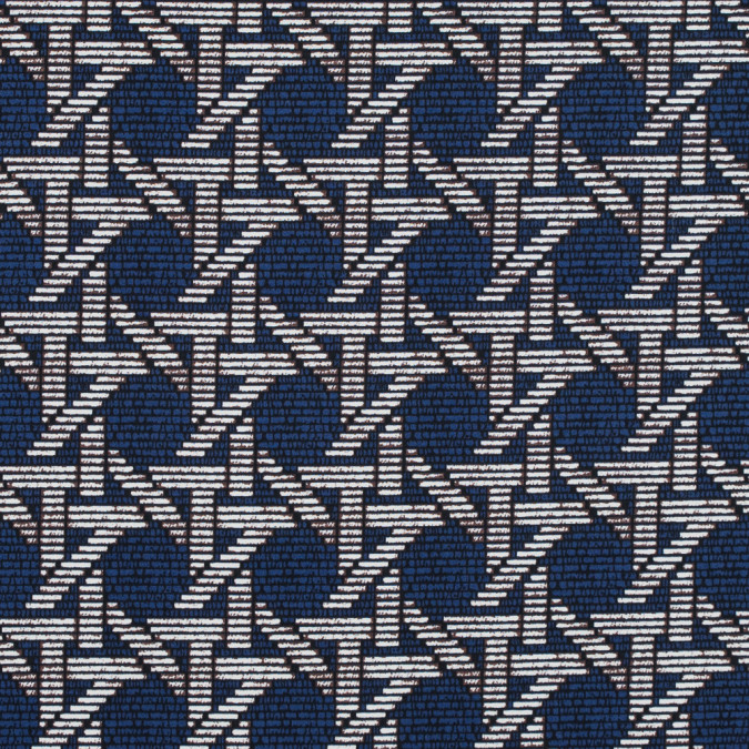 estate blue geometric printed stretch cotton sateen 314625 11