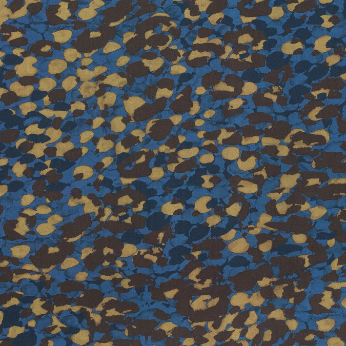 european blue and brown abstract camouflage cotton poplin 119278 11