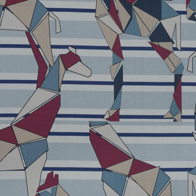 european blue and cranberry striped geometric giraffe printed cotton poplin 119335 11