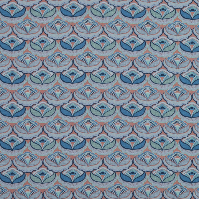 european blue and orange floral art deco cotton poplin 119290 11