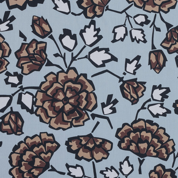european brown and blue geometric floral cotton poplin 119313 11