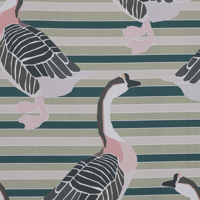 european green swan printed cotton poplin 119299 11