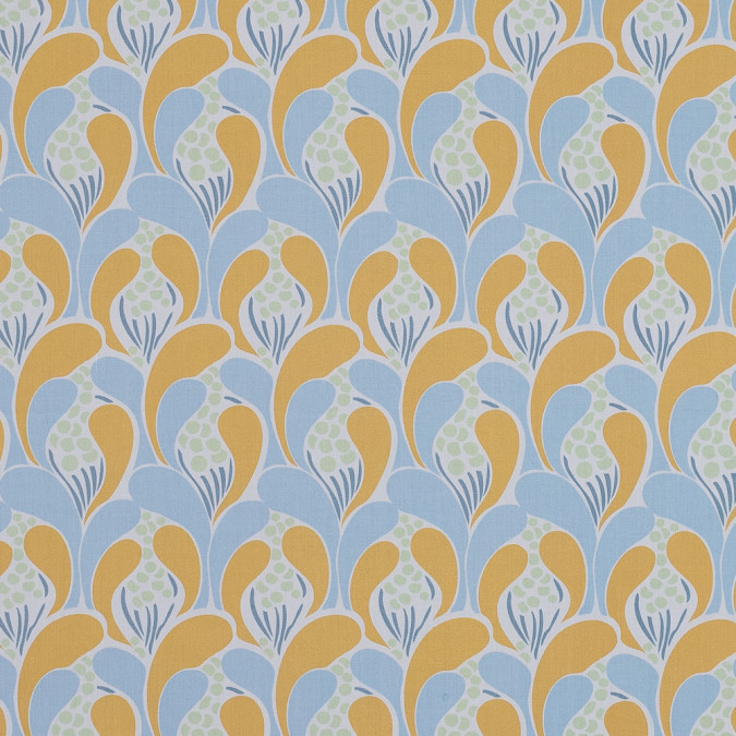 european light blue and mustard art deco revival cotton poplin 119340 11