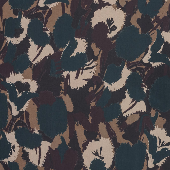 european maroon teal and beige camouflage cotton poplin 119305 11