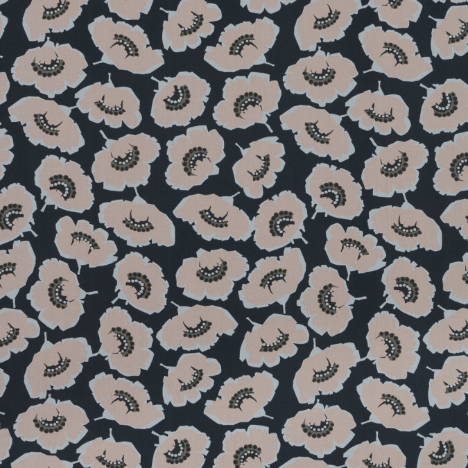 european navy and peach floral cotton poplin 119288 11