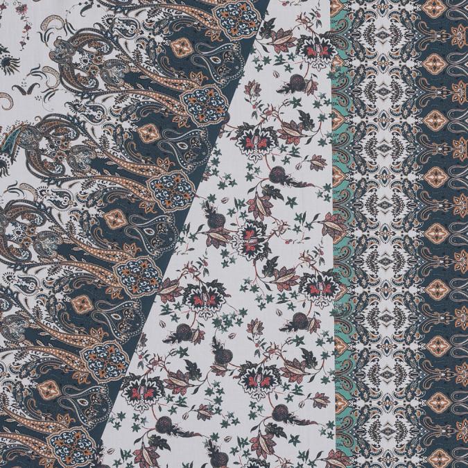 european orange and steel paisley patchwork cotton poplin 119300 11