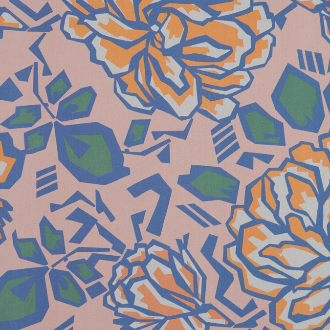 european peach and blue geometric floral cotton poplin 119311 10
