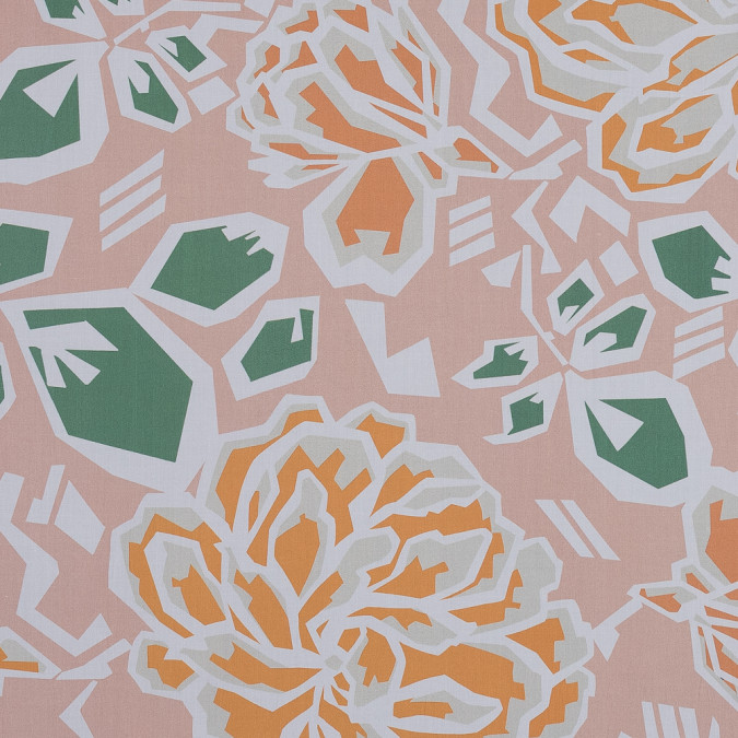 european peach and green geometric floral cotton poplin 119312 11