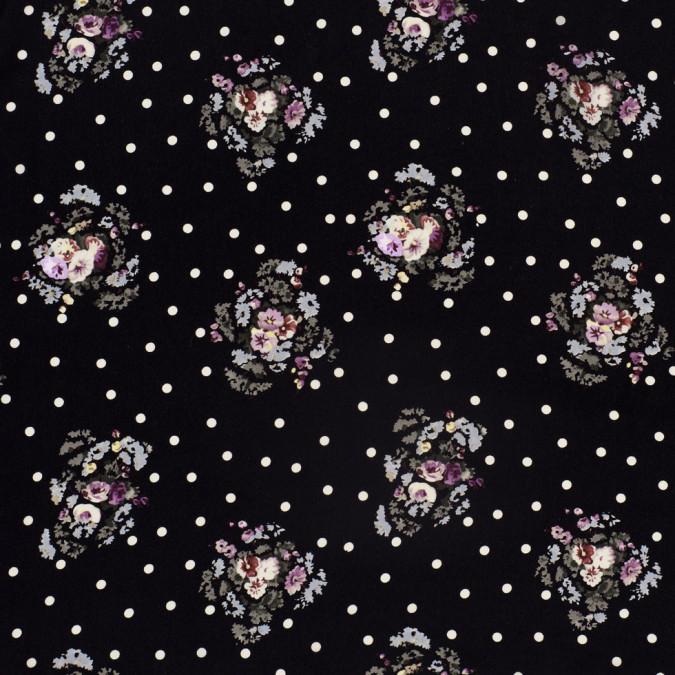 famous designer black silk floral dotted crepe de chine 302889 11