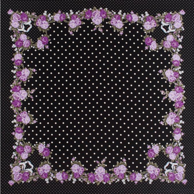 famous designer black silk floral dotted crepe de chine panel 303120 11