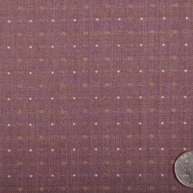 famous designer italian muted grape and pink dotted wool twill fw11043 11