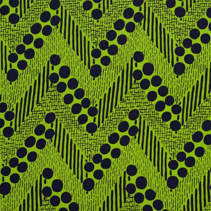 famous designer lime green and navy dots and zigzags silk chiffon 304461 11