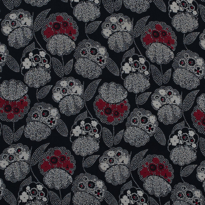 famous nyc designer black red and beige floral printed silk chiffon 314089 11