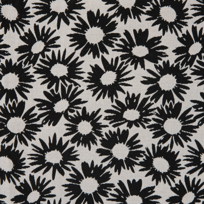 famous nyc designer black pale gray sunflower polyester double cloth 310598 11