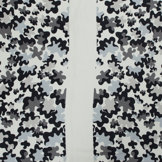 famous nyc designer gray and ivory abstract printed silk twill 318714 11