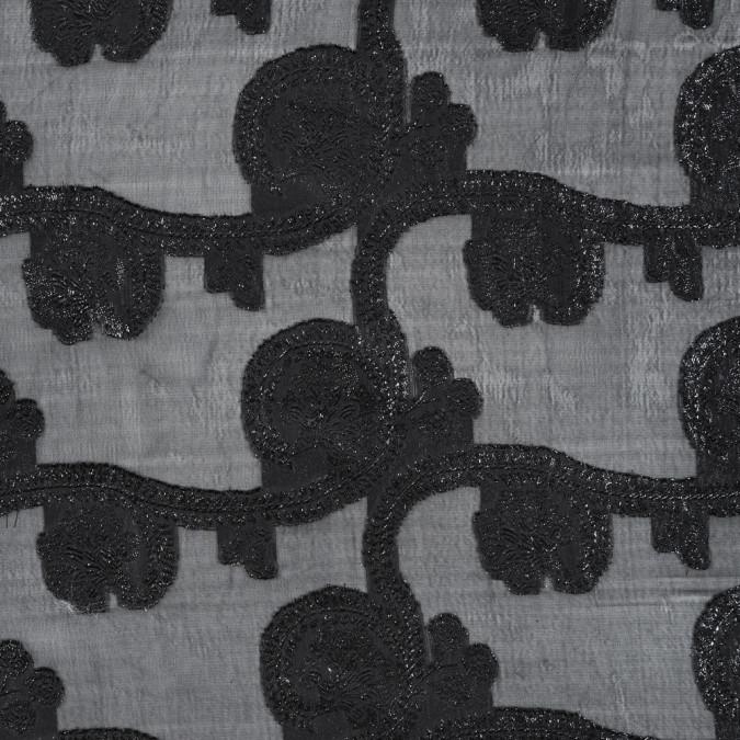 famous nyc designer metallic black paisley embroidered chiffon 314326 11
