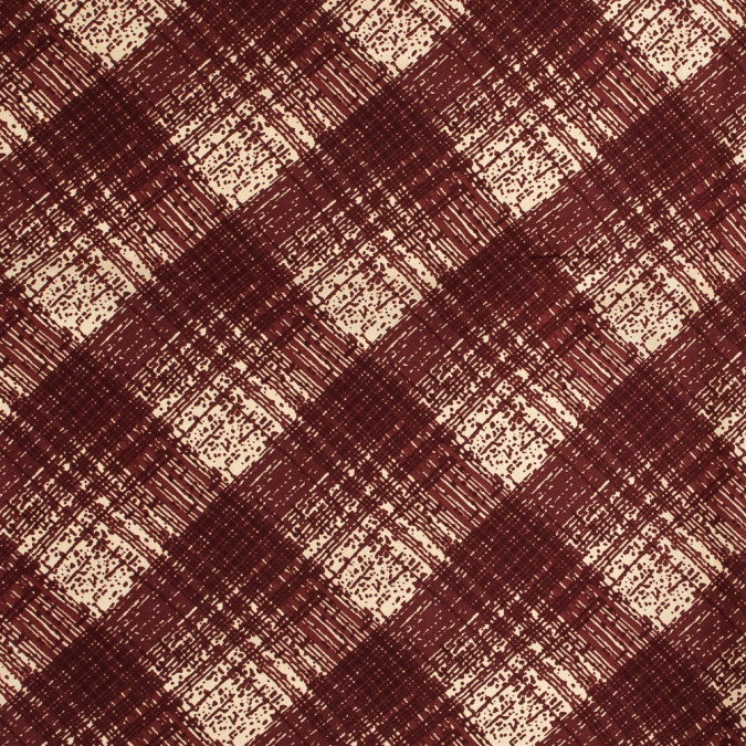 famous nyc designer rustic red abstract plaid silk twill 318713 11