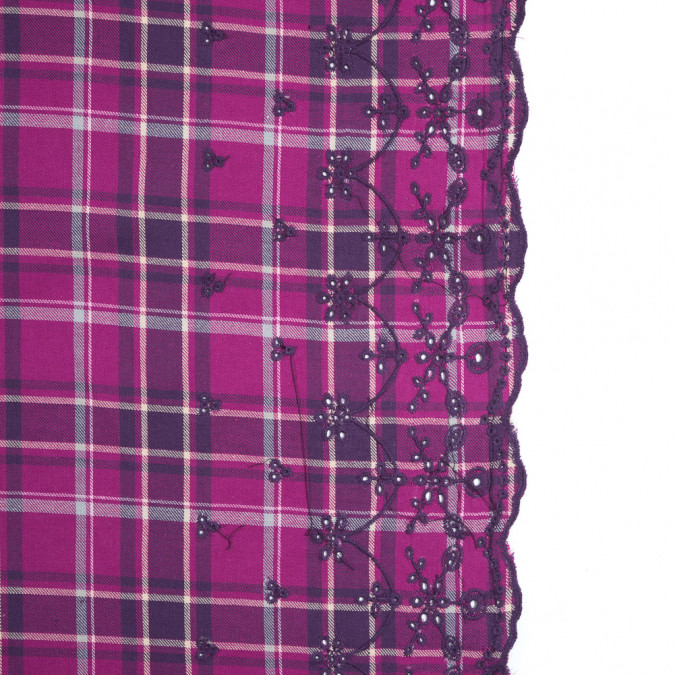 festival fuschia plaid cotton twill with floral eyelet border 315206 11