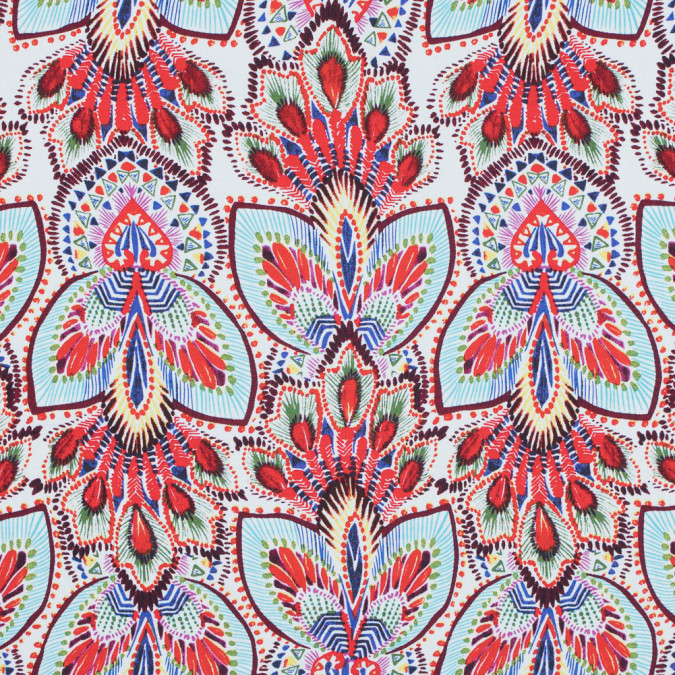 fiery red and blue atoll printed stretch cotton poplin 117305 11