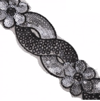 floral scroll sequin trim black silver