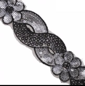 floral scroll sequin trim black silver