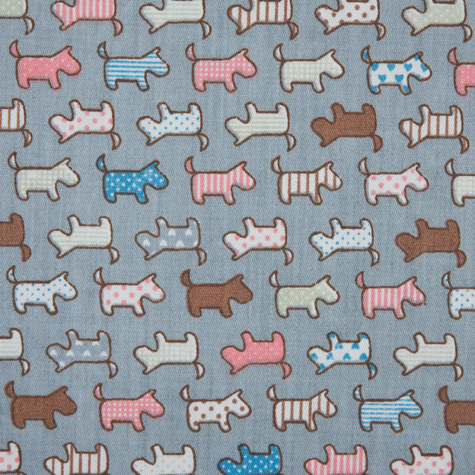 fog blue multi colored patterned dogs printed on a cotton twill 310788 11