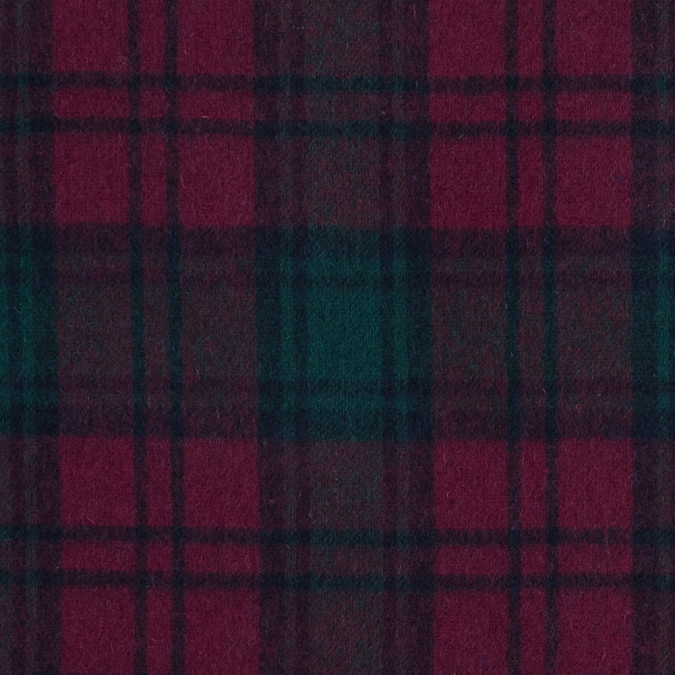 fuchsia and green plaid wool double cloth 317294 11