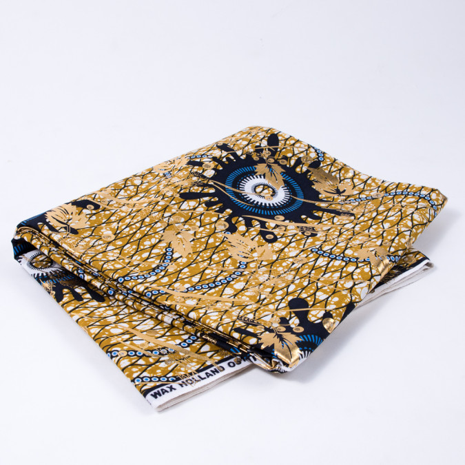 gold and dark navy waxed cotton african print with gold metallic foil 312703 11