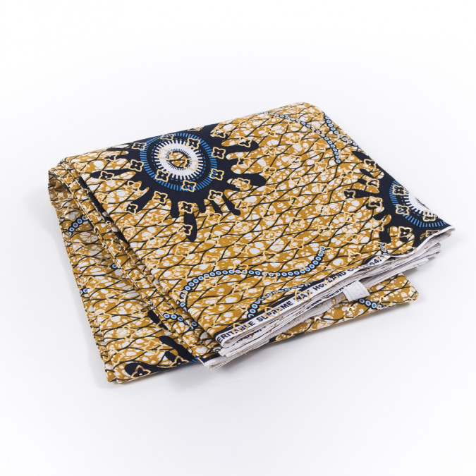 gold and dark navy waxed cotton african print with gold metallic foil 319506 11